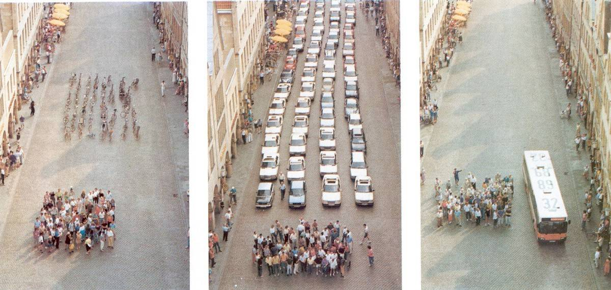 In 1991, a photographer commissioned by the City of Münster's planning department took a series of photographs for this three-panelled poster that showed the space required to transport 72 people by either car, bus or bicycle. Taken on Prinzipalmarkt, Münster's High Street, the transportation triptych has since become iconic and is often wheeled out as the main representation of how single-occupancy cars take up a disproportionate amount of road space.