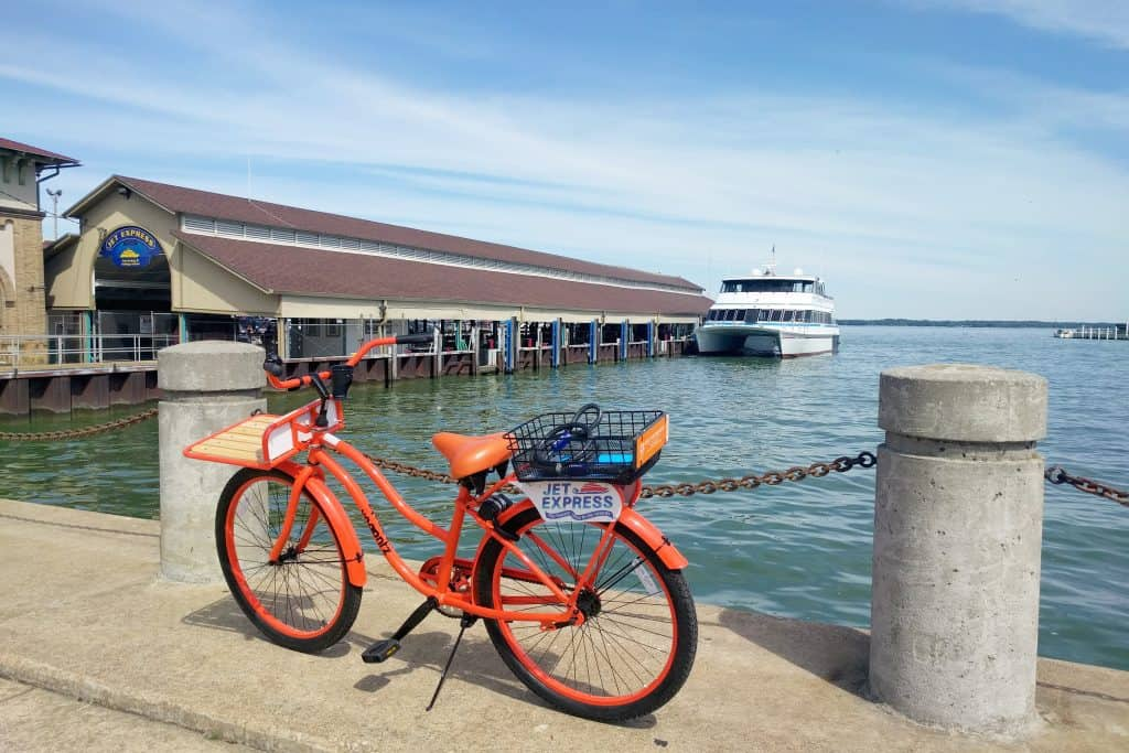 Donkey bike preparing to embark on a Jet Express ferry