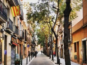 Street in Gracia, one of the Barcelona Barrios
