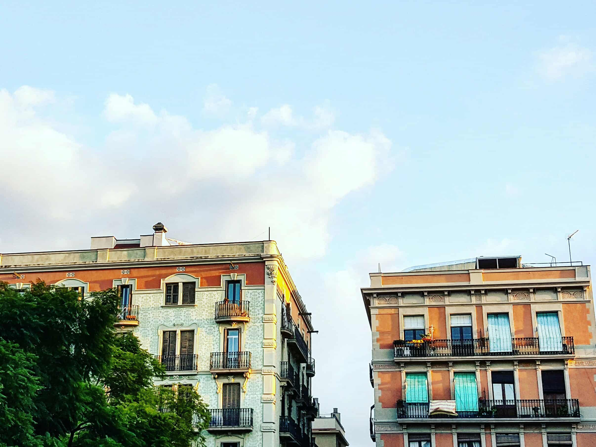 Barcelona barrios - buildings in a square in Gràcia