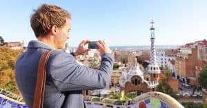 Man visiting Park Guell in Barcelona