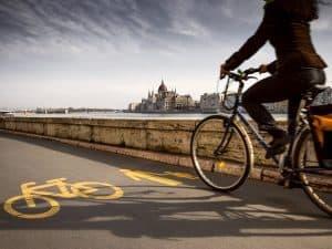 Cyclist on a Budapest bike tour