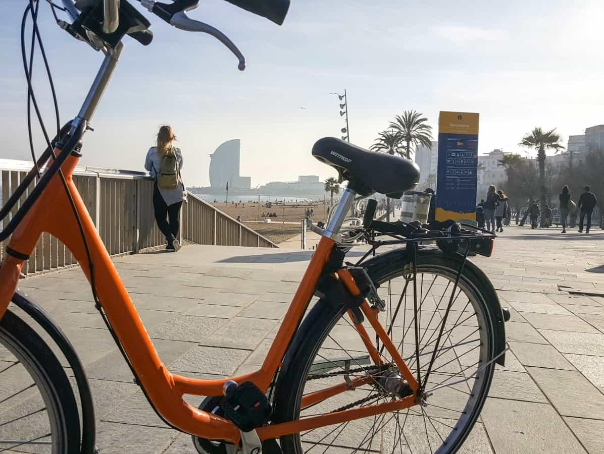 The beaches in Barcelona - a bike by La Barceloneta