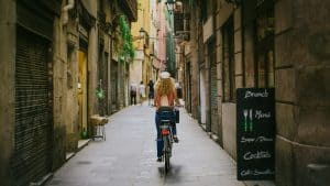 Girl exploring a city on 2 wheels