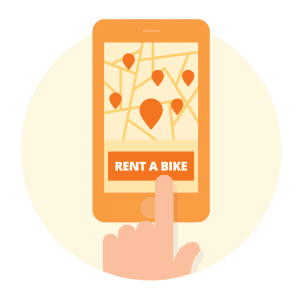 Rent a bike with the Donkey Republic app
