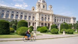 etramping on a Donkey Republic rental bike in Vienna