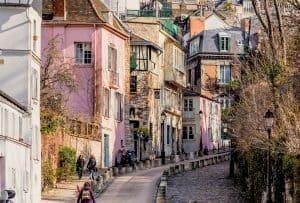 Paris Montmartre village like street cobble stones