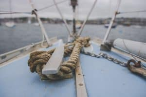 Sailing boat rope closeup