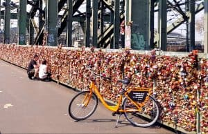 Cologne love locks bridge bike donkey republic