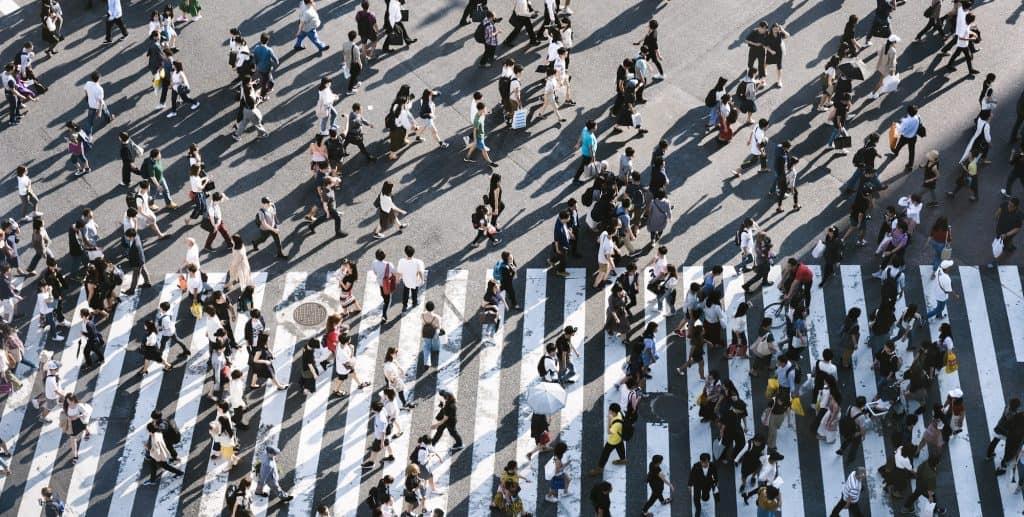 Crowded urban areas